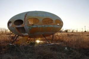 Abandoned Futuro House in Royse City, Texas 9photograph by Steve Rainwater)